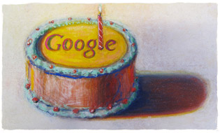 Happy 12th Birthday Google by Wayne Thiebaud. Image used with permission of VAGA NY.