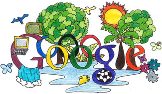 Google Logo: Brazil Doodle 4 Google Winner 'The Future of Brazil' - Drawn by Maria Luiza Carneiro de Faria