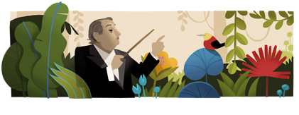 Google Logo: Heitor Villa-Lobos's 125th Birthday - Brezilian Composer