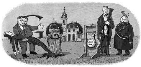 Google Logo: Charles Addams' 100th birthday, american cartoonist and creator or the famous Addams Family