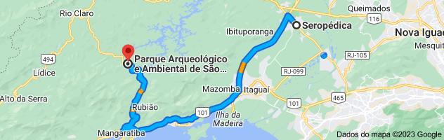 Mapa de Seropédica, Rio de Janeiro para Parque Arqueológico e Ambiental de São João Marcos, Estrada RJ-149, Km 20, Rio Claro - RJ, 27460-000