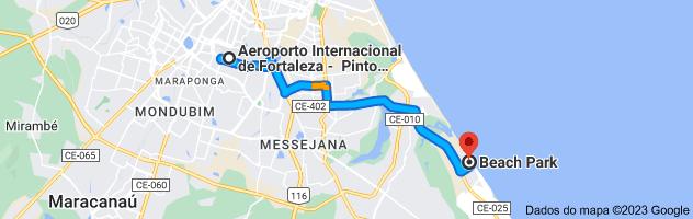 Mapa de Aeroporto Internacional de Fortaleza - Pinto Martins (FOR), Av. Senador Carlos Jereissati, 3000 - Serrinha, Fortaleza - CE, 60741-900 para Beach Park, Rua Porto das Dunas, 2734 - Porto das Dunas, Aquiraz - CE, 61700-000