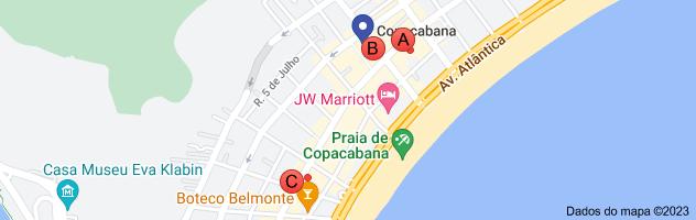 Mapa de bancos em Copacabana