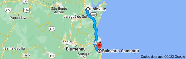 Mapa de Joinville, Santa Catarina para Balneário Camboriú, SC
