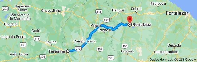 Mapa de Teresina, Piauí para Reriutaba, Ceará