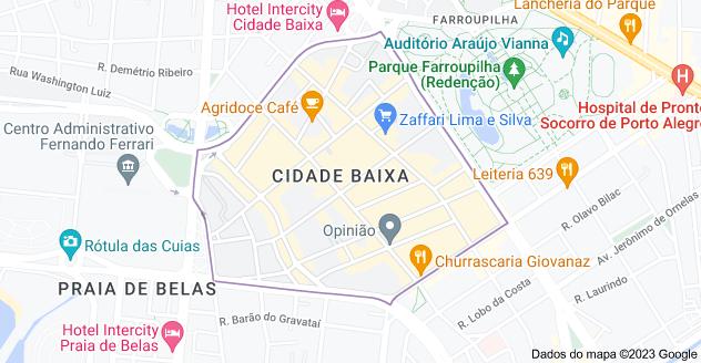 Mapa de Cidade Baixa, Porto Alegre - RS