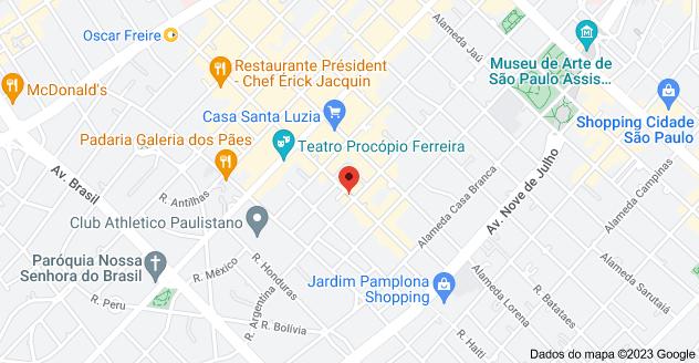 Mapa de Rua Oscar Freire, 329 - Jardim Paulista, São Paulo - SP